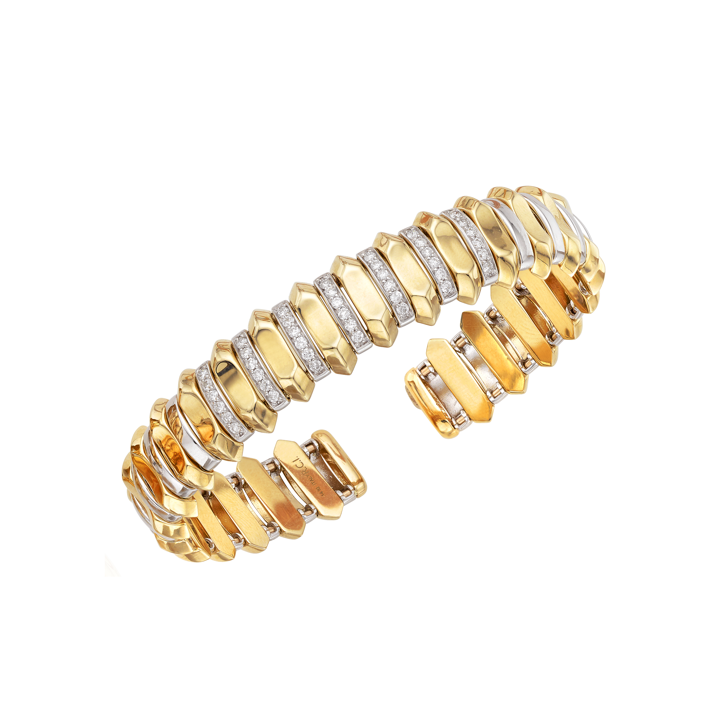 14K Yellow & White Gold Bangle Bracelet Wyatt's Jewelers Seattle, WA