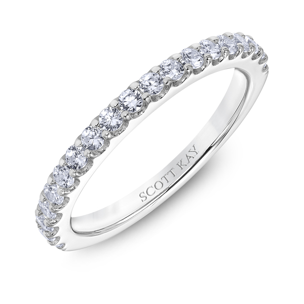 "Ladies Wedding Bands - 18K ""Luminaire"" Ladies Diamond Wedding Band - image #2"