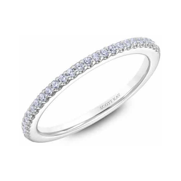 "Ladies Wedding Bands - Platinum ""Heaven's Gates"" Ladies Diamond Wedding Band - image #2"