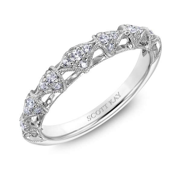 "Ladies' Wedding Rings - Platinum ""Heaven's Gates"" Ladies Diamond Wedding Band - image #2"
