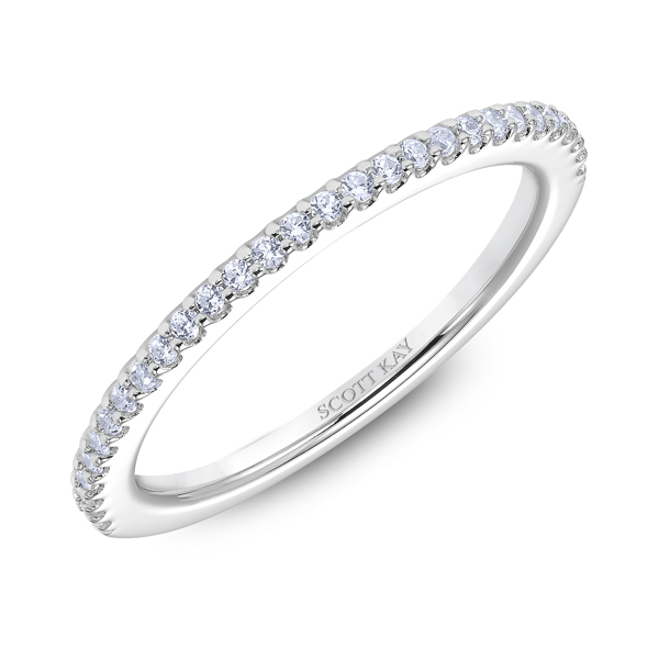 "Ladies Wedding Bands - 18K ""Heaven's Gates"" Ladies Diamond Wedding Band - image #2"