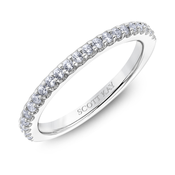"Ladies Wedding Bands - 14K ""Namaste"" Ladies Diamond Wedding Band - image #2"