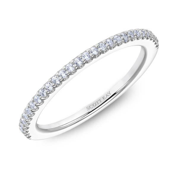 "Ladies Wedding Bands - 14K ""Namaste"" Ladies Diamond Wedding Band - image 2"