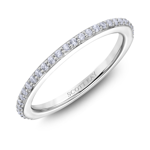 "Ladies Wedding Bands - Platinum ""Namaste"" Ladies Diamond Wedding Band - image #2"