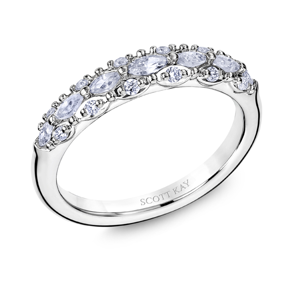 "Ladies Wedding Bands - Platinum ""Luminaire"" Ladies Diamond Wedding Band - image #2"