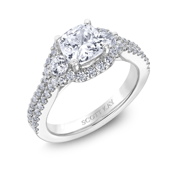 "Diamond Engagement Rings - Platinum ""Luminaire"" Diamond Engagement Ring - image 2"