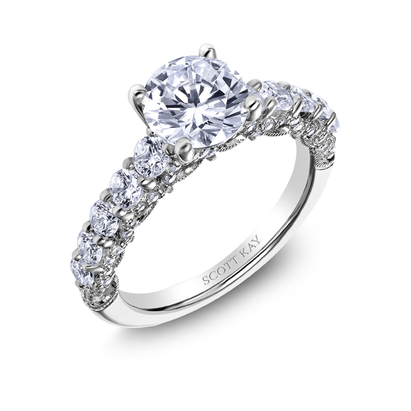 "Scott Kay Platinum Diamond Wedding Band Ring: Platinum ""Heaven's Gates"" Diamond Engagement Ring"