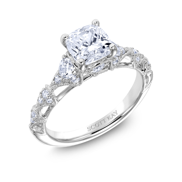 "Diamond Engagement Rings - Platinum ""Heaven's Gates"" Diamond Engagement Ring - image #2"