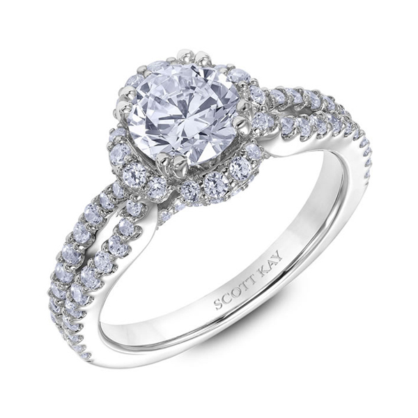 "Diamond Engagement Rings - 18K ""Heaven's Gates"" Diamond Engagement Ring - image #2"