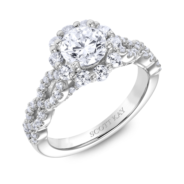 "Diamond Engagement Rings - 18K ""Namaste"" Diamond Engagement Ring - image #2"