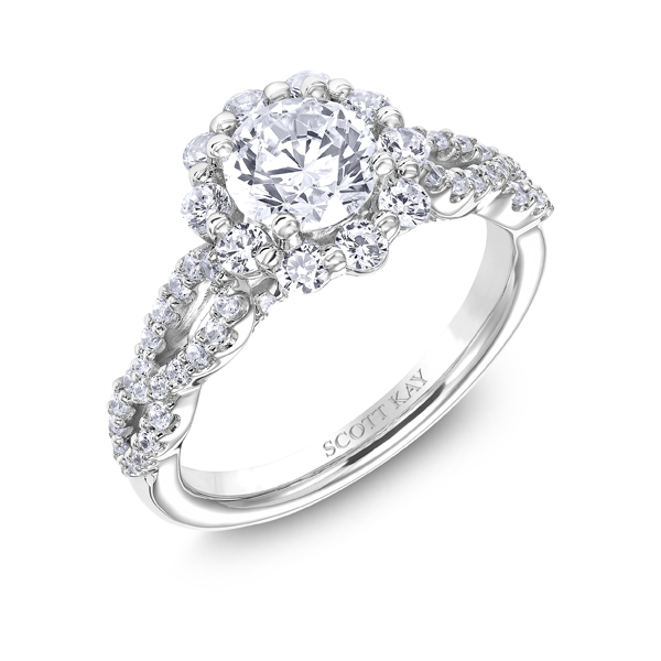 "Diamond Engagement Rings - 14K ""Namaste"" Diamond Engagement Ring - image #2"