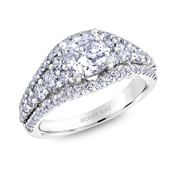 "Diamond Engagement Rings - Platinum ""Namaste"" Diamond Engagement Ring - image 2"