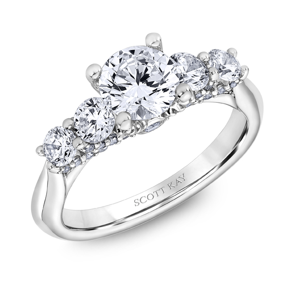 "Diamond Engagement Rings - Platinum ""The Crown"" Diamond Engagement Ring - image #2"