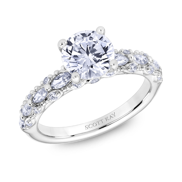 "Diamond Engagement Rings - 18K ""Luminaire"" Diamond Engagement Ring - image #2"