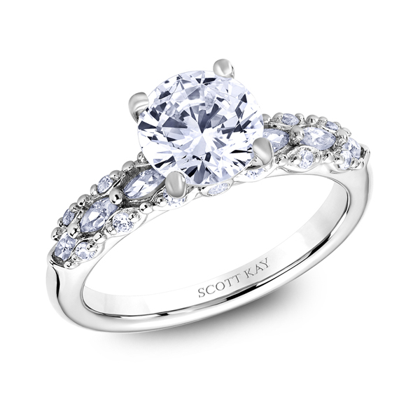 "18K ""Luminaire"" Diamond Engagement Ring Image 2 Malak Jewelers Charlotte, NC"