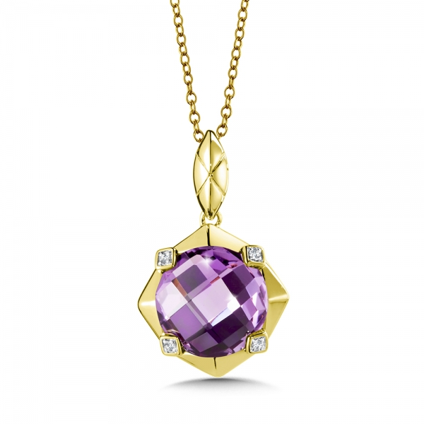 Jackson Pendant Light Yellow: Colore Oro Amethyst And Diamond Pendant In 14K Yellow Gold