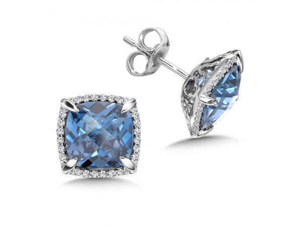Colore Oro  London Blue Topaz and Diamond Post Earrings in 14K White Gold  by Colore | SG