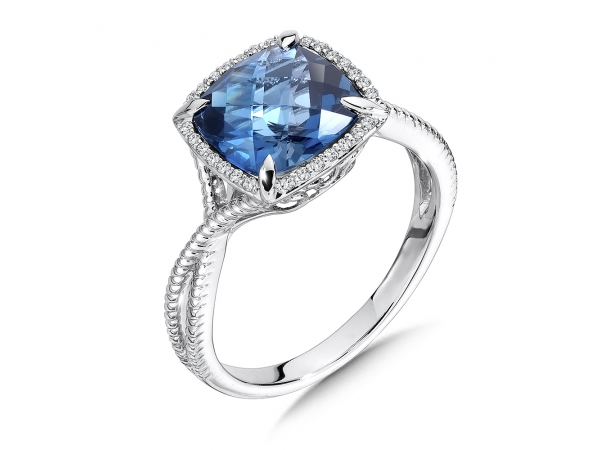 Colore Oro  London Blue Topaz and Diamond Ring in 14K White Gold by Colore | SG