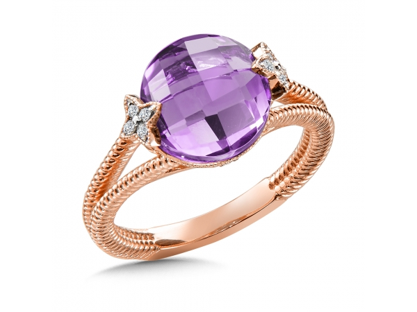 Colore Oro  Amethyst & Diamond Ring in 14K Rose Gold by Colore | SG