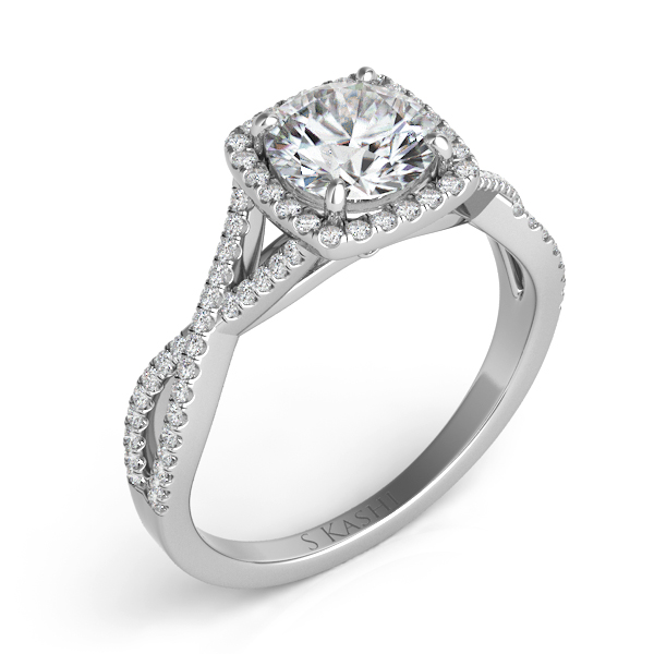 White Gold Halo Engagement Ring by S. Kashi & Sons