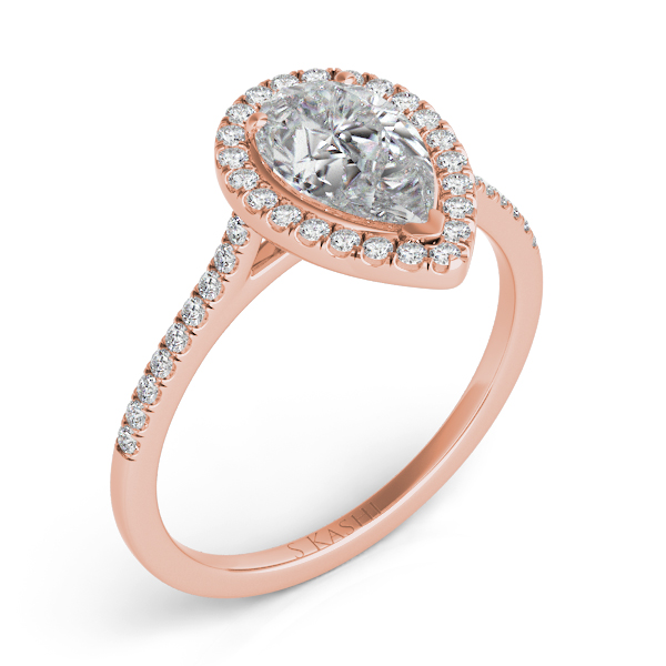 Rose Gold Halo Engagement Ring En7519 9x6mrg Engagement Rings From