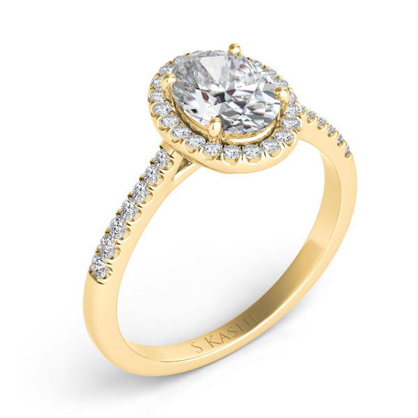 Yellow Gold Halo Engagement Ring by S. Kashi