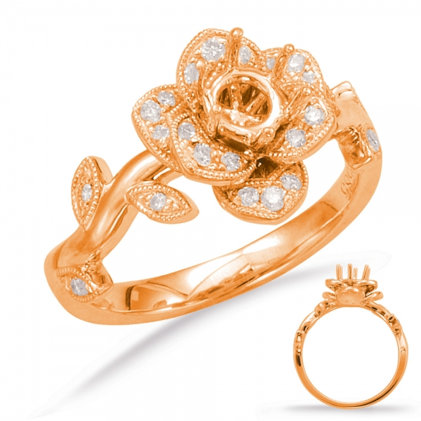 Rose Gold Halo Engagement Ring En7818 50rg Engagement Rings From