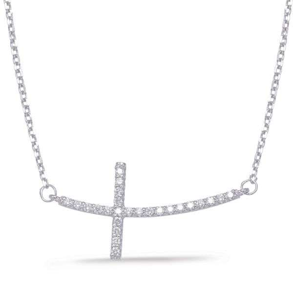 White Gold Cross Necklace by S. Kashi & Sons