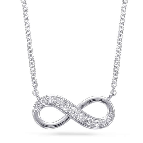 White Gold Infinity Sign Necklace by S. Kashi & Sons