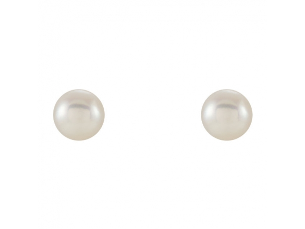 Diamond Earrings - Pearl Stud Earrings - image 2