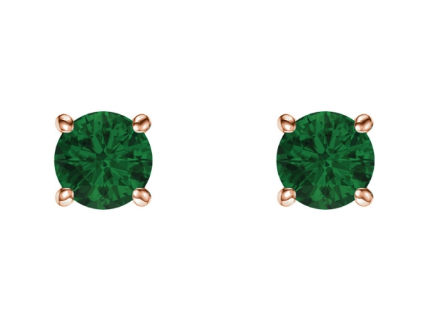 Gemstone Earrings Lab Created Emerald Image 2
