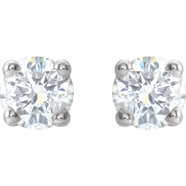 Diamond Earrings - Round 4-Prong Lightweight Wire Basket Earrings - image 2