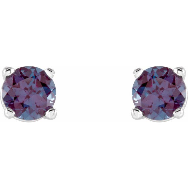 Gemstone Earrings - Round 4-Prong Lightweight Wire Basket Earrings - image #2