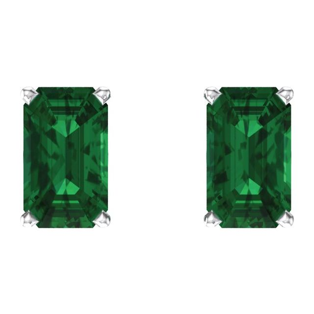 Gemstone Earrings - Emerald Scroll Setting® Earrings  - image #2