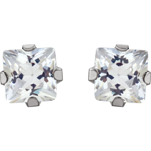 Gemstone Earrings - Cubic Zirconia Inverness® Piercing Earrings - image #2