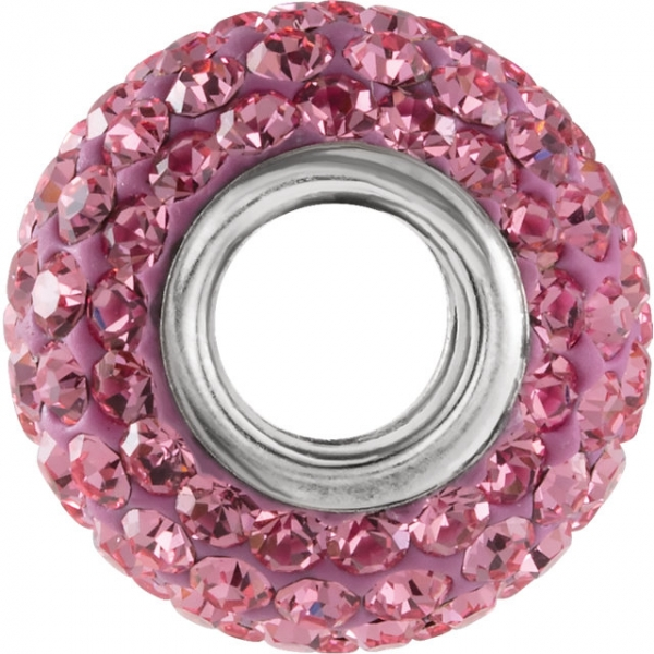 Beads - Kera® Roundel Bead with Pave' Rose Crystals - image #2