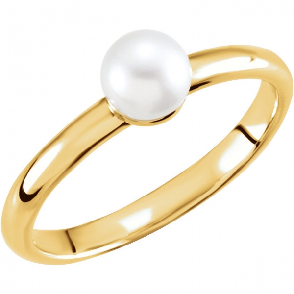 Gemstone Rings - Solitaire Pearl Ring