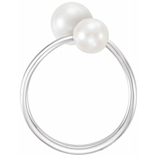 Gemstone Rings - Two-Stone Bypass Pearl Ring - image #2