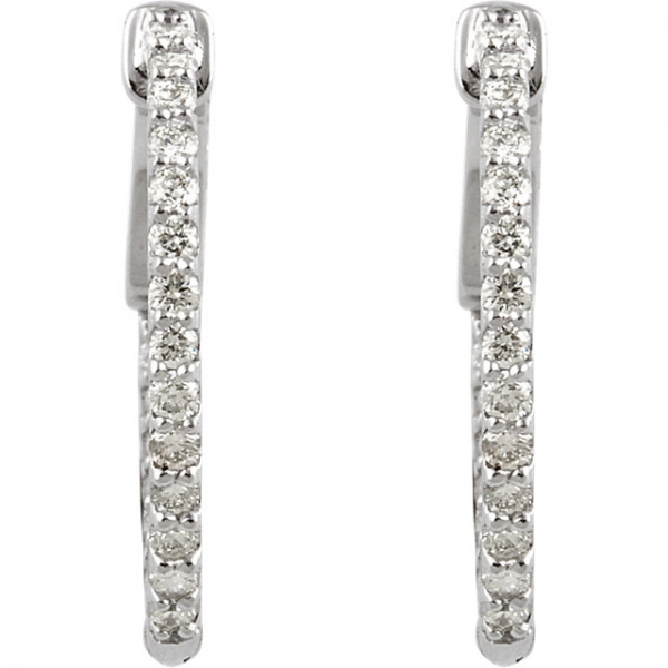Diamond Earrings - Inside/Outside Hoop Earrings - image #2