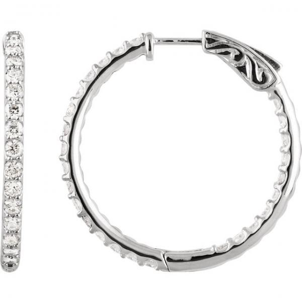 Diamond Earrings - Inside/Outside Hoop Earrings
