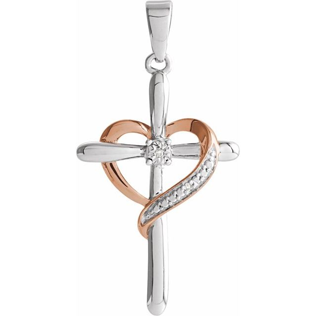 Two-Tone Heart with Cross Pendant  by Stuller