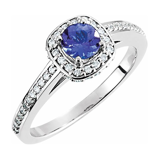 Gemstone Rings - Halo-Style Engagement  Ring