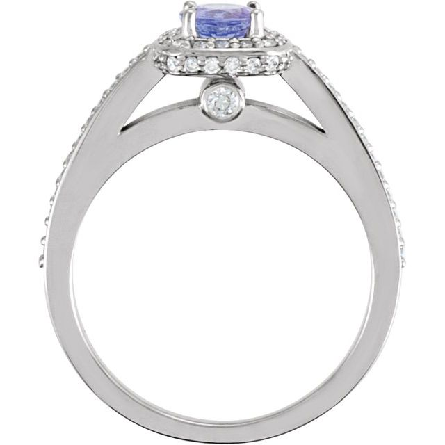 Gemstone Rings - Halo-Style Engagement  Ring  - image #2