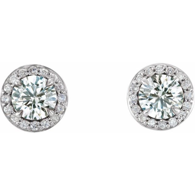Diamond Earrings - Halo-Style Earrings - image #2
