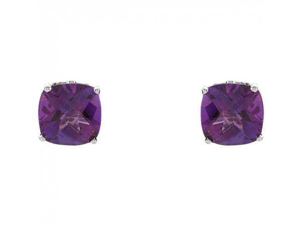 Earrings - Cushion 4-Prong Scroll Setting® Earrings  - image #2