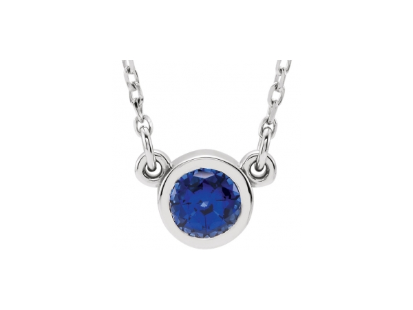 Gemstone Necklaces - Lab-Created Sapphire Necklace