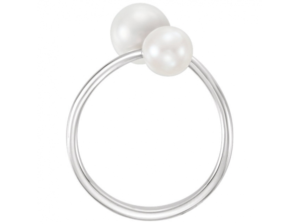 Gemstone Rings - Two-Stone Bypass Pearl Ring - image 2