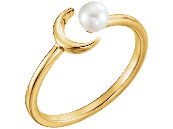 Gemstone Rings - Crescent Pearl Ring