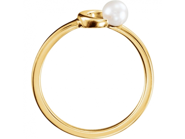 Gemstone Rings - Crescent Pearl Ring  - image #2