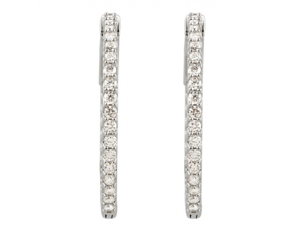Diamond Earrings - Inside/Outside Hoop Earrings - image 2